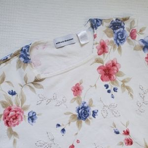 Alfred Dunner Floral Short Sleeve Sweater